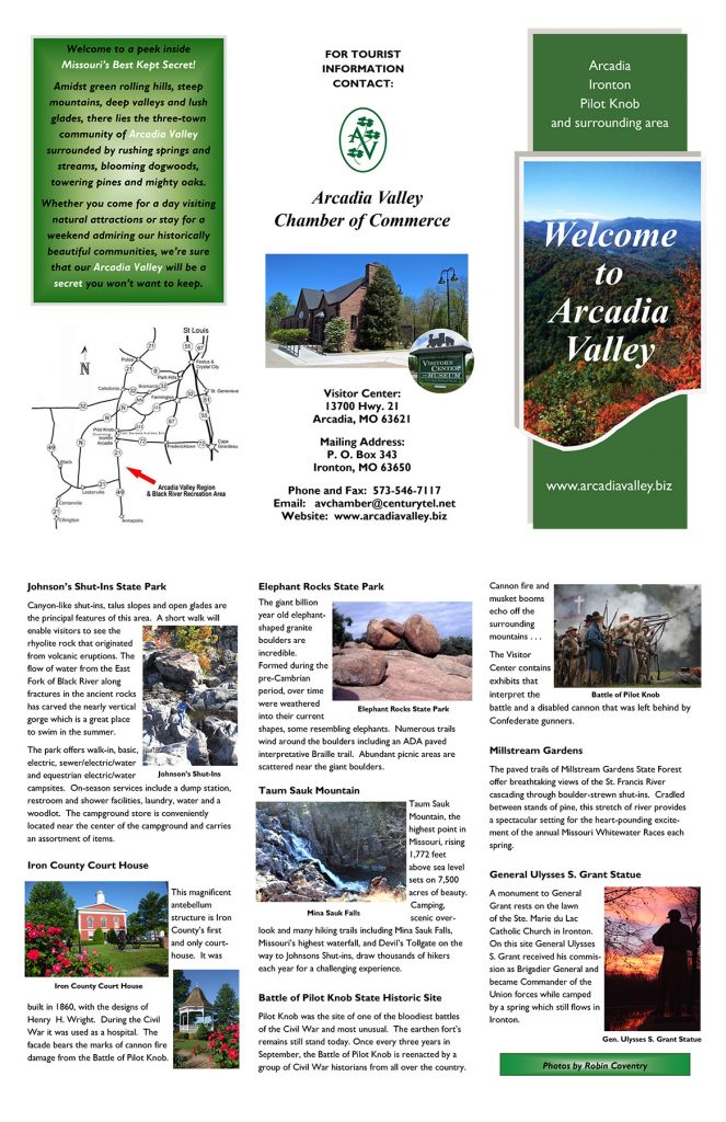 Arcadia Valley Chamber of Commerce Brochure